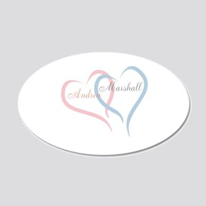Twin Hearts to Personalize Wall Decal