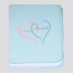 Twin Hearts to Personalize baby blanket