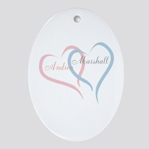 Twin Hearts to Personalize Oval Ornament