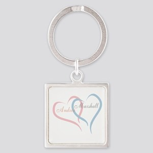 Twin Hearts to Personalize Keychains
