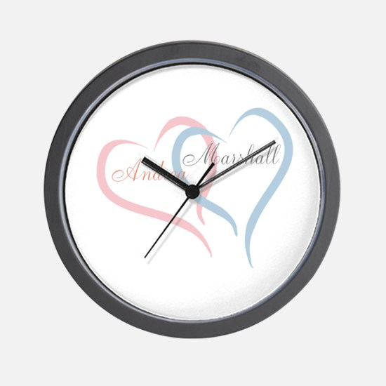 Twin Hearts to Personalize Wall Clock