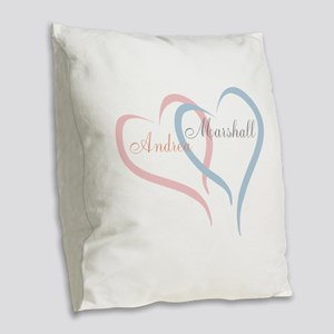 Twin Hearts to Personalize Burlap Throw Pillow