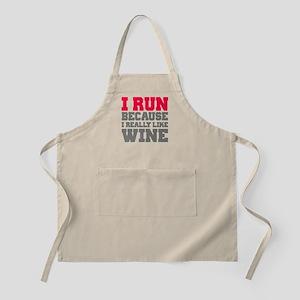I Run Because I Really Like Wine Apron