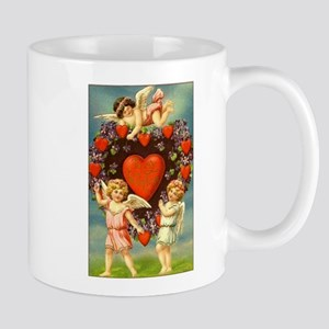 Vintage Valentine 3 Cupids And Red Hearts Mugs