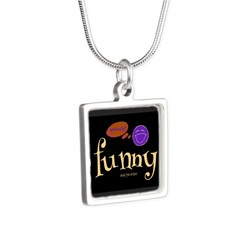A Funny Thought Black Silver Square Necklaces