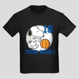 Snoopy Basketball - Personalized Kids Dark T-Shirt