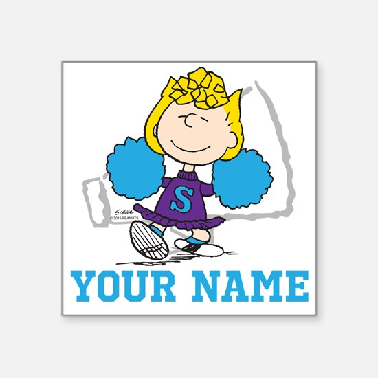 """Snoopy Sally Cheer - Person Square Sticker 3"""" x 3"""""""