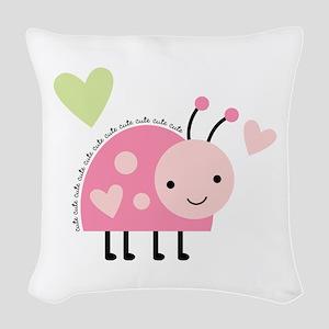 Pink Ladybug Woven Throw Pillow