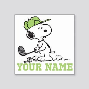 snoopy golf personalized square sticker 3