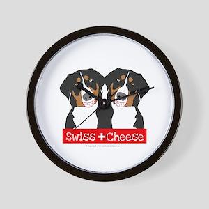 Swiss Cheese Swiss Mountain Dogs Wall Clock