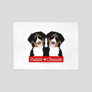 Swiss Cheese Swiss Mountain Dogs 5'x7'Area Rug
