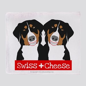 Swiss Cheese Swiss Mountain Dogs Throw Blanket