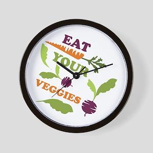 Eat You Veggies Wall Clock