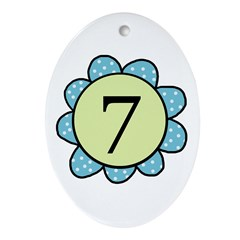 7 blue/green flower Oval Ornament