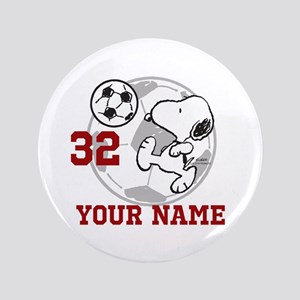 Snoopy Soccer - Personalized Button