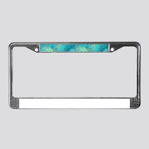 Turquoise Crystal Pattern License Plate Frame