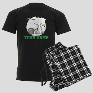 Snoopy Tennis - Personalized Men's Dark Pajamas