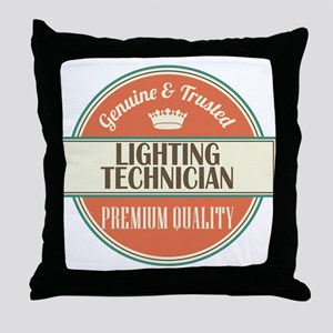 lighting technician vintage logo Throw Pillow
