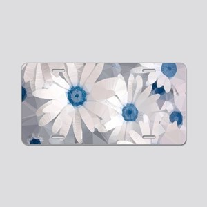 White Daisies Low Poly Floral Aluminum License Pla