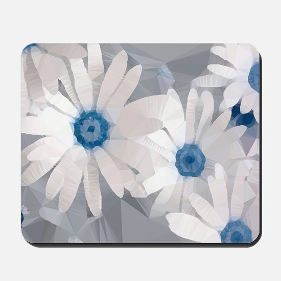 White Daisies Low Poly Floral Mousepad