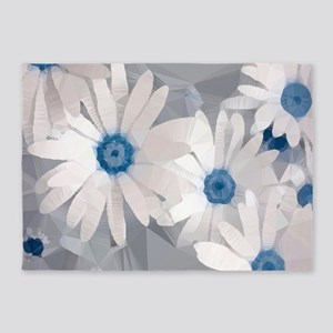 White Daisies Low Poly Floral 5'x7'Area Rug