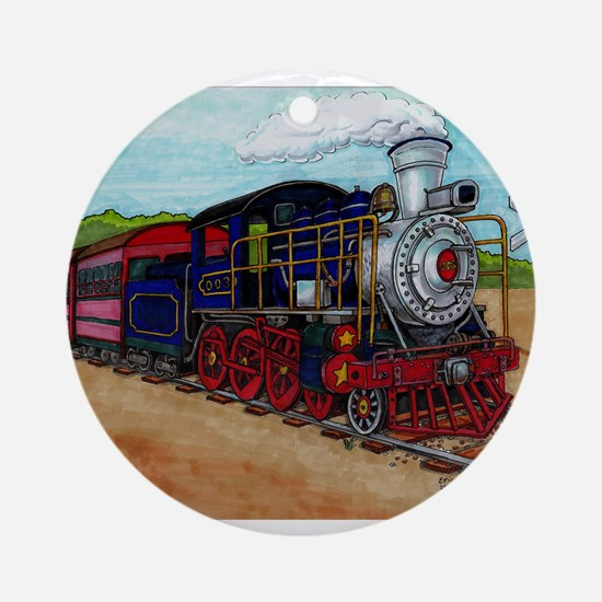 Cute Steam engine Round Ornament