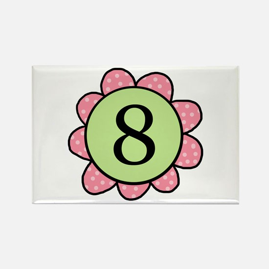 8 pink/green flower Rectangle Magnet