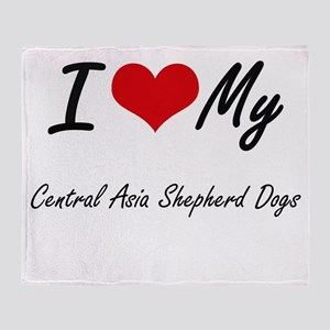 I Love my Central Asia Shepherd Dogs Throw Blanket