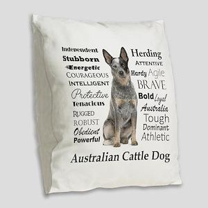 Cattle Dog Traits Burlap Throw Pillow