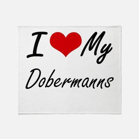 I Love my Dobermanns Throw Blanket