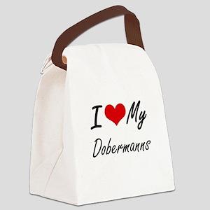 I Love my Dobermanns Canvas Lunch Bag