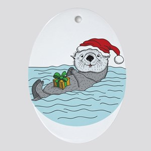 Sea Otter Christmas Oval Ornament