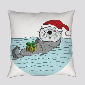 Sea Otter Christmas Everyday Pillow