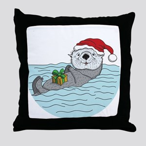 Sea Otter Christmas Throw Pillow