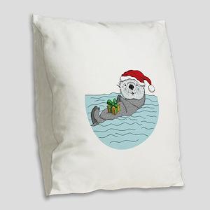 Sea Otter Christmas Burlap Throw Pillow