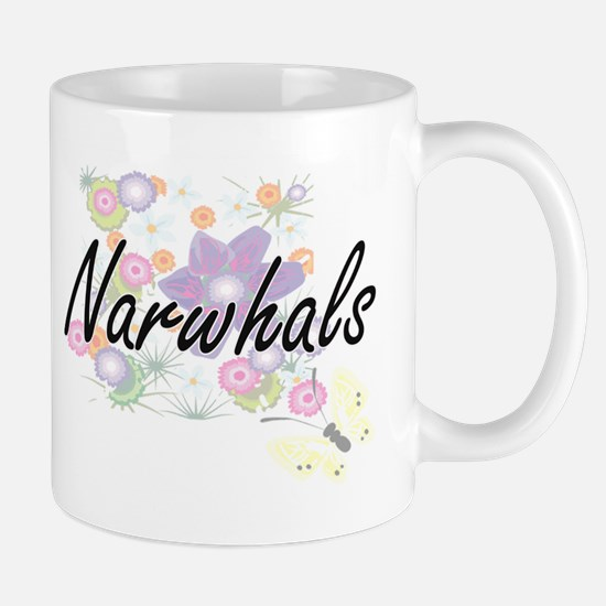 Narwhals artistic design with flowers Mugs