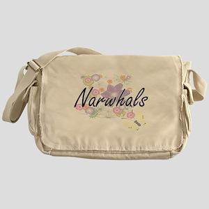 Narwhals artistic design with flower Messenger Bag