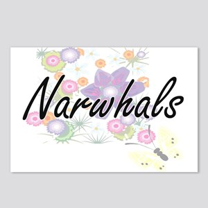 Narwhals artistic design Postcards (Package of 8)