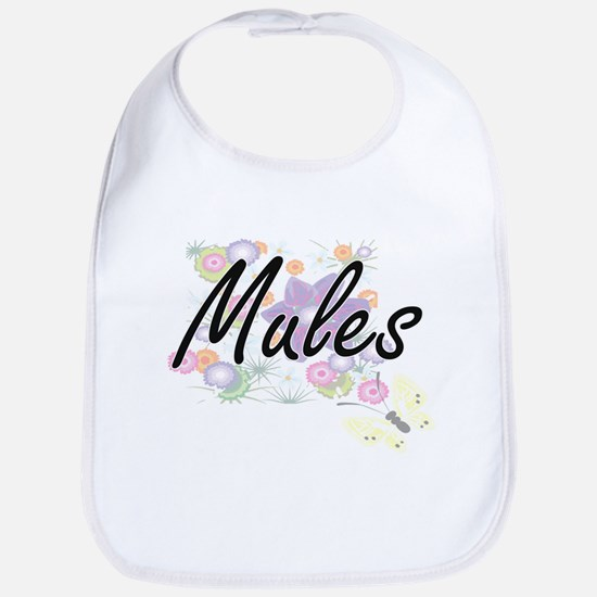 Mules artistic design with flowers Bib