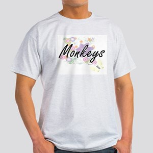 Monkeys artistic design with flowers T-Shirt