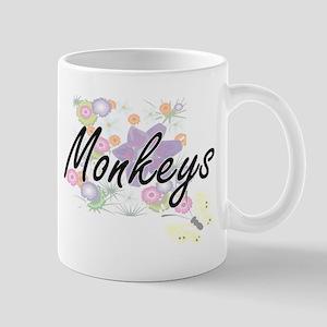 Monkeys artistic design with flowers Mugs