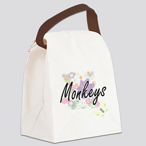Monkeys artistic design with flow Canvas Lunch Bag