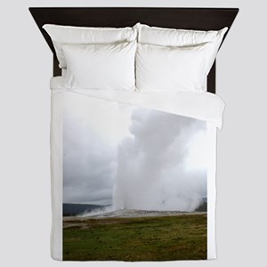 Old Faithful Yellowstone National Park Queen Duvet