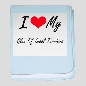 I Love my Glen Of Imaal Terriers baby blanket