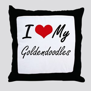 I Love my Goldendoodles Throw Pillow
