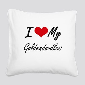I Love my Goldendoodles Square Canvas Pillow