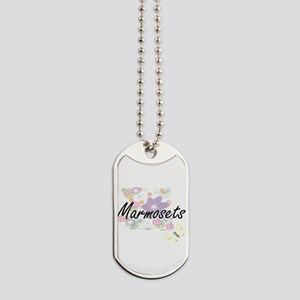 Marmosets artistic design with flowers Dog Tags
