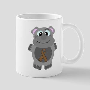 Brown Awareness Ribbon Rhino Mug