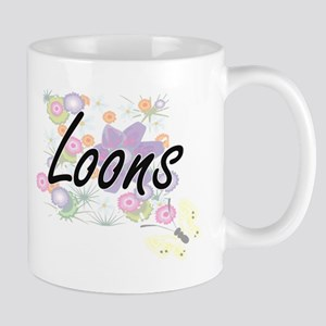 Loons artistic design with flowers Mugs