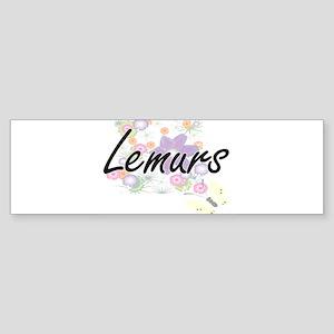 Lemurs artistic design with flowers Bumper Sticker
